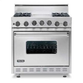 "Metallic Silver 36"" Sealed Burner Self-Cleaning Gas Range - VGSC (36"" wide range with four burners with char-grill)"