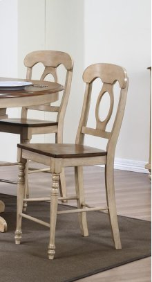 Sunset Trading Brook Napoleon Stool in Wheat with Pecan Finish Seat - Sunset Trading