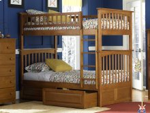 Columbia Bunk Bed Twin over Twin with Raised Panel Bed Drawers in Caramel Latte