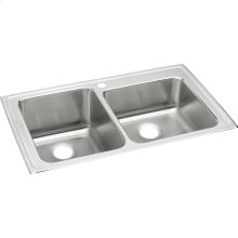 """Elkay Lustertone Classic Stainless Steel 37"""" x 22"""" x 10"""", Offset Double Bowl Drop-in Sink"""