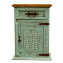 "Left : 20"" x 16"" x 28"" Turquoise Wash One Drawer/ Door Nightstand"