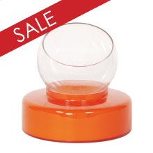 Orange Opaque Glass Round Base with Clear Hand Blown Glass Vase - Small