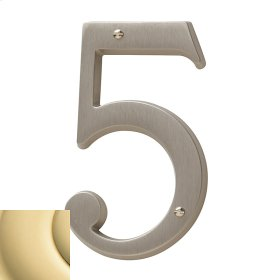 Non-Lacquered Brass House Number - 5