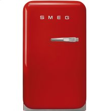 "Approx 16"" 50's Retro Style Mini Refrigerator, Red, Left hand hinge"
