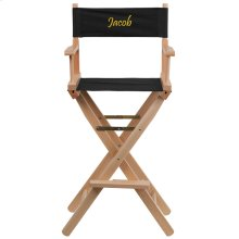 Embroidered Bar Height Directors Chair in Black