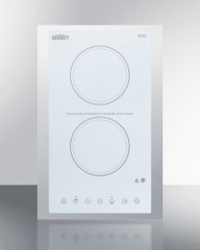 "115v 2-burner Cooktop In White Ceramic Schott Glass With Digital Touch Controls and Stainless Steel Frame To Allow Installation In 15"" Wide Counter Cutouts"""