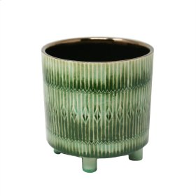 Green/copper Footed Planter 8.25""