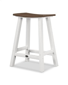 "White & Mahogany Contempo 24"" Saddle Bar Stool"