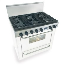 "36"" Six Burner All Gas Range, Sealed Burners, White"