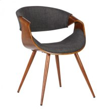 Armen Living Butterfly Mid-Century Dining Chair in Walnut Wood and Charcoal Fabric