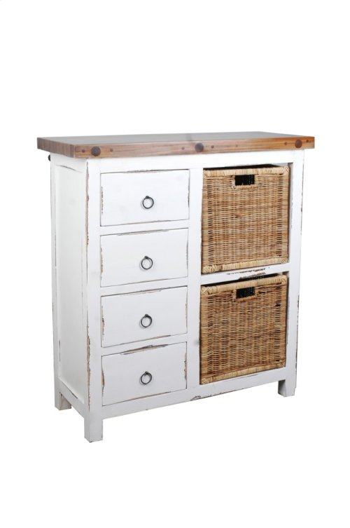 CC-CAB2228TLD-WWSV-B  Cottage Whitewashed Basket Cabinet