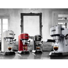 Dedica DeLuxe Manual Espresso Machine, Cappuccino Maker - EC685W - White