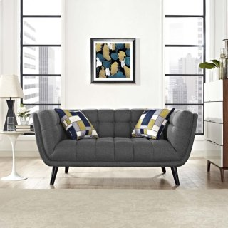 Bestow Upholstered Fabric Loveseat in Gray