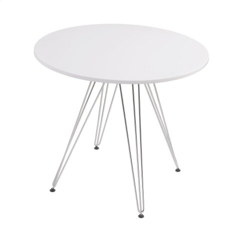 """Emerald Home Audrey Dining Table-round 40"""" Diameter White Top, Chrome Base D119-10-40wht"""