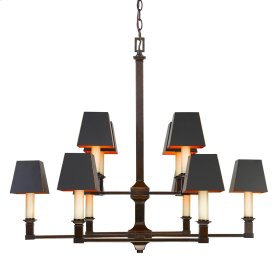 Smithsonian Bradley 2 Tier - 10 Light Chandelier in Cordoban Bronze with Black Shades