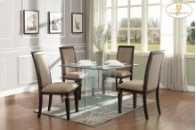 HOMELEGANCE 17813-5S-CR Alouette Glass Table With 4 Chairs