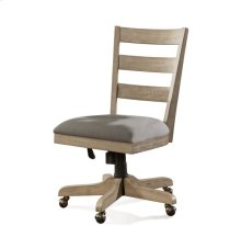 Perspectives Wood Back Upholstered Desk Chair Sun-drenched Acacia finish
