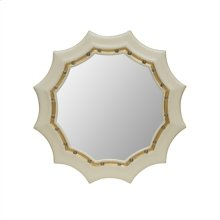 Cream Lacquer Finished Mirror with Gold Gilt and Decorative Glass Ball Accents