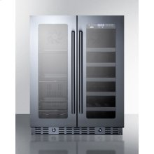 ADA Compliant Built-in or Freestanding Dual Zone Wine/beverage Center With French Door Swing, Seamless Stainless Steel Trimmed Glass Doors, and Stainless Steel Cabinet