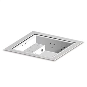 Built-in fiberglass minipool with skimming lip. Seat with blower 4 dorsal whirlpool and 1 leg linear whirlpool systems RGB LED spot lamp ozonator heat exchanger heating system. For 3/4 persons. White colour.