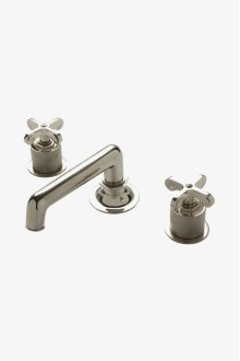 Henry Low Profile Three Hole Deck Mounted Lavatory Faucet with Coin Edge Cylinders and Metal Cross Handles STYLE: HNLS04
