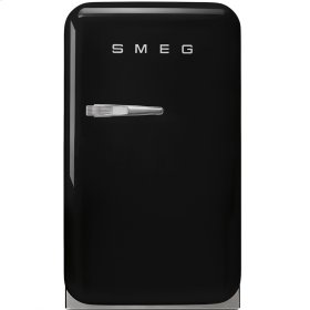 "Approx 16"" 50's Retro Style Mini Refrigerator, Black, Right hand hinge"