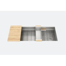"SmartStation® 005404 - undermount stainless steel Kitchen sink , 48"" × 18 1/8"" × 10"" (Maple)"