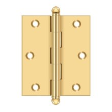 "3""x 2-1/2"" Hinge, w/ Ball Tips - PVD Polished Brass"