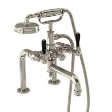 Arcade Exposed Deck-mount Tub Faucet with Handshower and Black Lever Handles - Polished Chrome