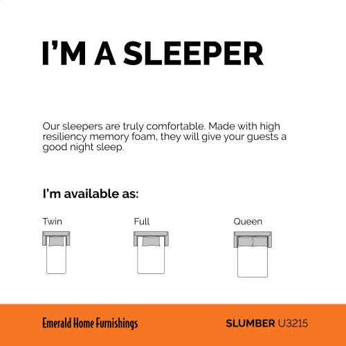 Emerald Home Slumber Queen Sleeper W/gel Foam Mattress Charcoal U3215-50-23