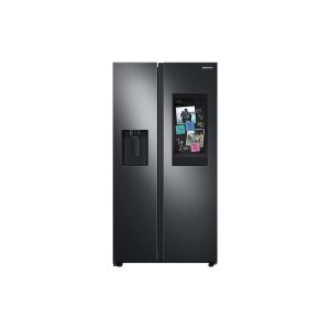 Samsung Appliances22 cu. ft. Counter Depth Side-by-Side Refrigerator with Touch Screen Family Hub™ in Black Stainless Steel