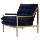 Gold Leaf Arm Chair W. Navy Velvet Cushions Product Image