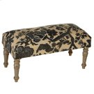 Blue & White Embroidered Floral Bench. Product Image
