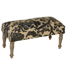 Blue & White Embroidered Floral Bench