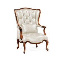 Wing-Backed Chair in Cream Leather