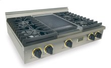 """36"""" Gas Cooktop, Sealed Burners, Stainless Steel with Brass"""