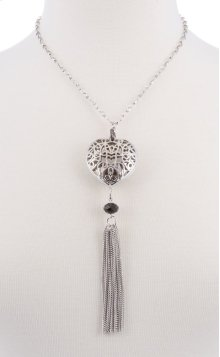 BTQ Silver Heart Tassle Necklace