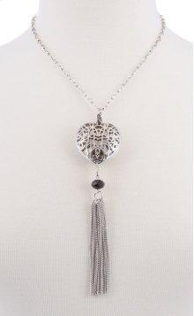 BTQ Silver Heart Tassle Necklace