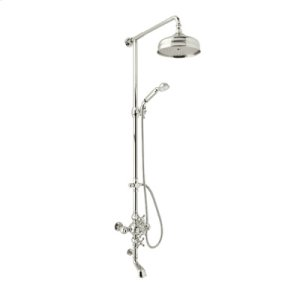 Polished Nickel Exposed Wall Mount Thermostatic Tub/Shower With Volume Control with Arcana Cross Handle