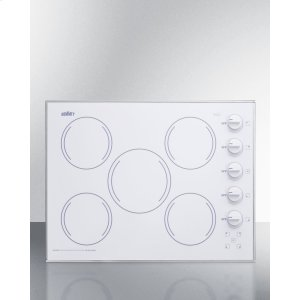"""Summit27"""" Wide 5-burner Radiant Cooktop Made In the USA In Smooth White Ceramic Glass Finish"""