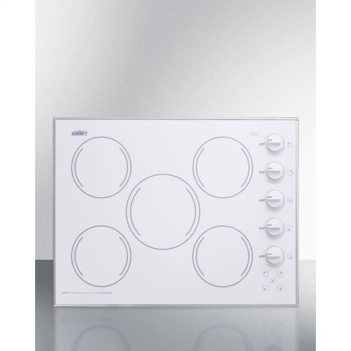 """27"""" Wide 5-burner Radiant Cooktop Made In the USA In Smooth White Ceramic Glass Finish"""