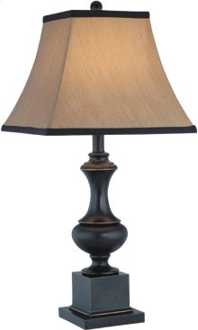 Table Lamp - Dark Bronze/beige Fabric Shade, E27 Type A 150w