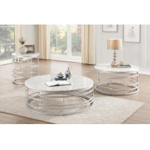Round End Table with Faux Marble Top