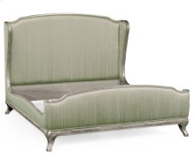 Cali King Louis XV Silver-Leaf Bed, Upholstered in Duck Egg Silk