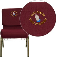 Embroidered HERCULES Series 21''W Church Chair in Burgundy Fabric with Cup Book Rack - Gold Vein Frame