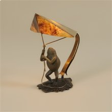POMPEIAN BRONZE FINISHED CAST BRASS DECORATIVE FROG LAMP WITH TIGER PENSHELL SHADE