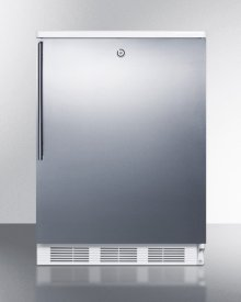 Commercially Listed Freestanding All-refrigerator for General Purpose Use, Auto Defrost W/lock, Ss Wrapped Door, Thin Handle, and White Cabinet
