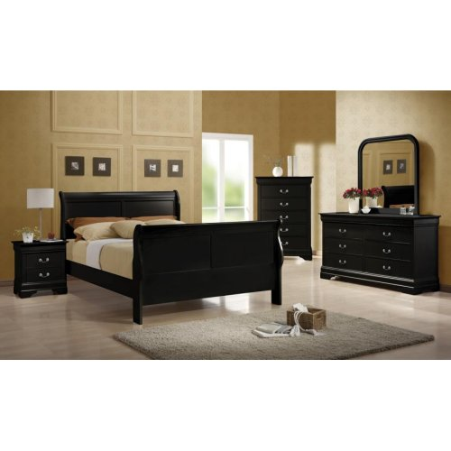 Louis Philippe Traditional Black Sleigh Queen Bed