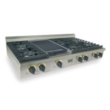 "48"" Gas Cooktop, Sealed Burners, Stainless Steel with Brass"