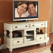 Coventry Two Tone - Tall TV Console - Weathered Driftwood/dover White Finish